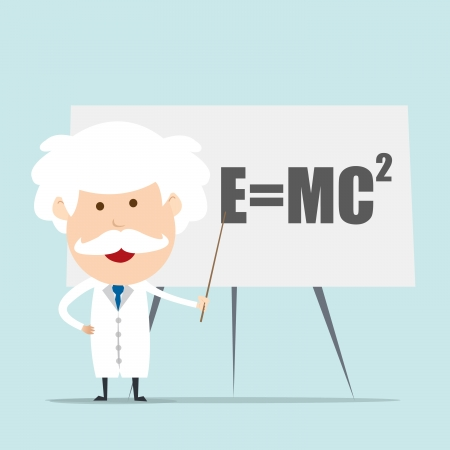 clever: Professor and scientist presenting Einstein Formula