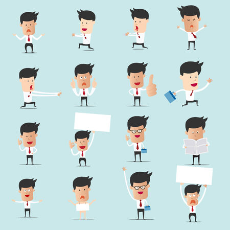 happy employees: Set of cartoon businessman with many character for use in presentation and graphic design, Set 2