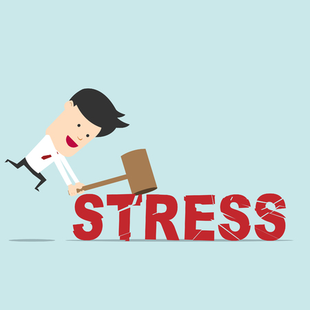 Business man use hammer try to break stress word Stock Vector - 25787949