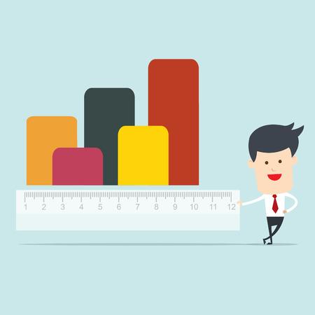 metric: Business man use ruler measure graph