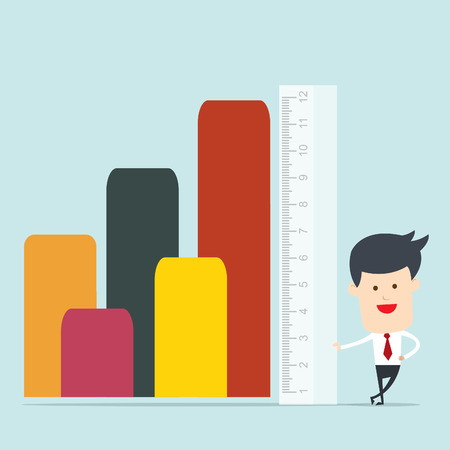 accomplishes: Business man use ruler measure
