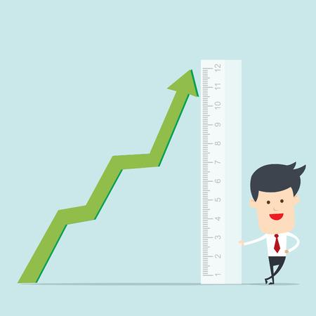 accomplishes: Business man use ruler measure graph  Illustration