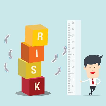 accomplishes: Business man use ruler measure risk block