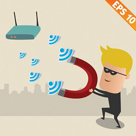 scammer: Hacker with magnet on wireless network