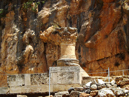 Ruins of Banias Temples, the sanctuary of Pan in Israel.