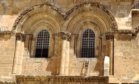 The Immovable Ladder under the window of the Church of the Holy Sepulchre in the Old City of Jerusalem.