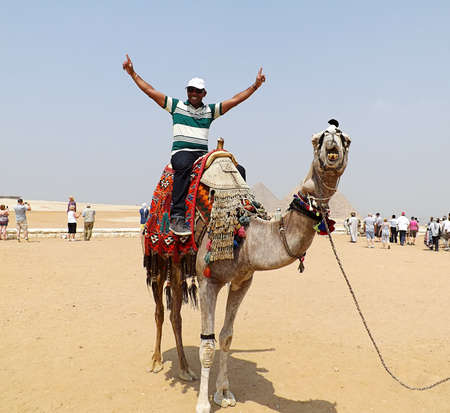 GIZA, EGYPT - MAY 15, 2013: Tourist rides on a camel for the first time in front of the pyramids of Egypt. Éditoriale