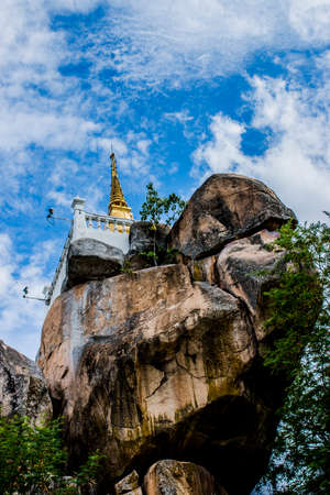 contain: Pagoda on the Khao Rub Chang Hill on Phichit Thailand that contain bone ash Buddha  Stock Photo