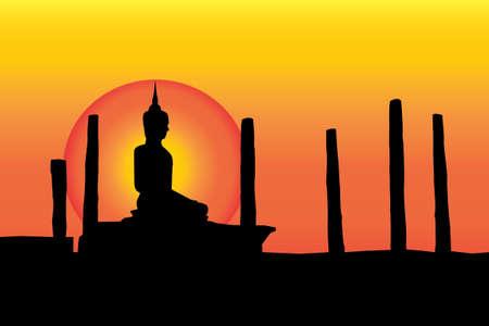 buddist: Black Buddha statue yellow background