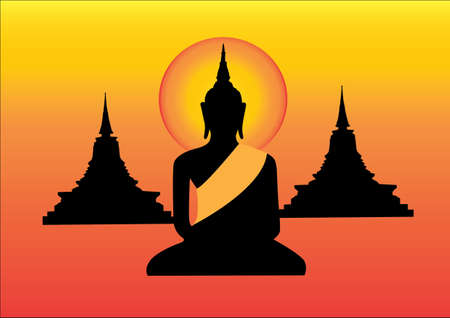 buddist: Black Buddha statue and pagoda yellow background Illustration
