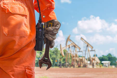construction work: wrench, Basic tool fix on crude oil site