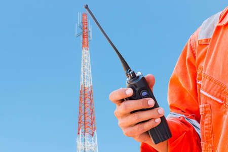 Radio trunk on antenna tower Stock Photo