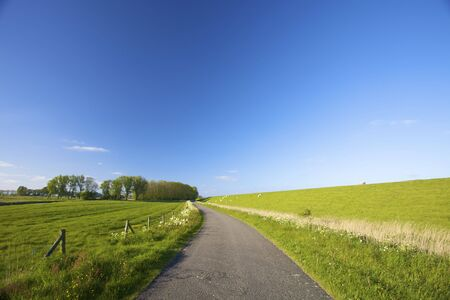 an empty countryside road in summer in th Netherlands Stock Photo