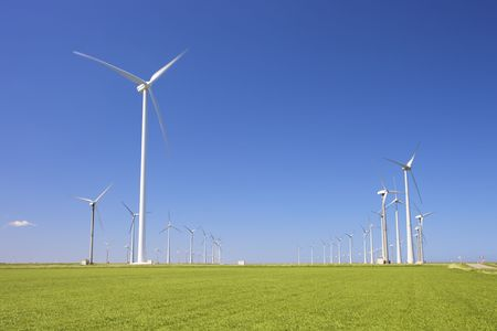 wind turbines in a green field producing energy in summer photo