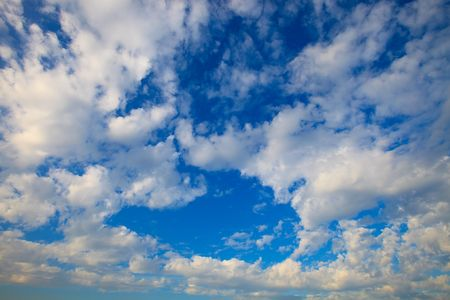 nederland: Bright blue sky with white clouds Stock Photo