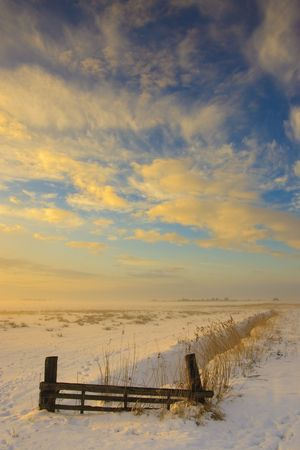 sunset landscape in winter with snow in Holland Stock Photo - 5918759