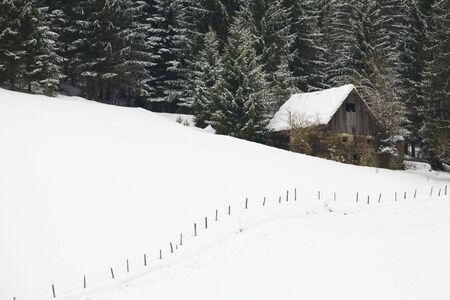 Berghütte im Winter in einer Gesamtstruktur mit Schnee bedeckt  Standard-Bild