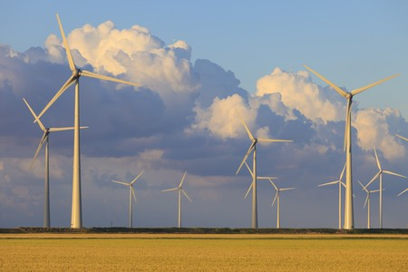 Wind energy turbines in summer with a blue sky Stock Photo - 7402770