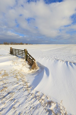 Fresh snow in winter in a field with a fence photo