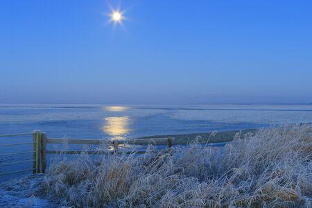 nuit hiver: Paysage d'hiver bleu dans la nature avec la lune et sur le terrain