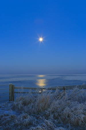 Blue winter landscape in nature with moon and field