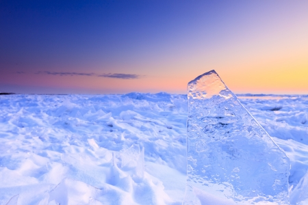 Shelf ice in winter with a beautiful sunset