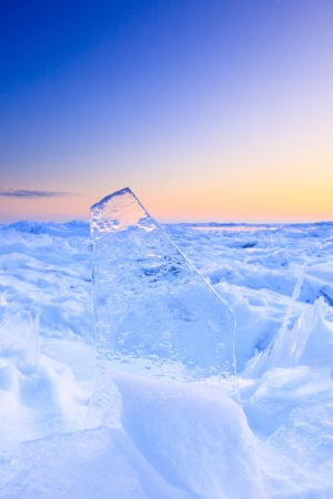 frozen lake: Shelf ice in winter with a beautiful sunset