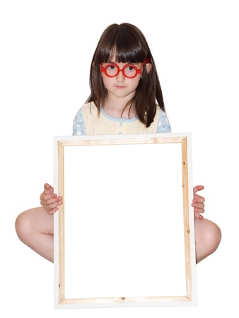 Girl in red glasses holding white frame isolated photo