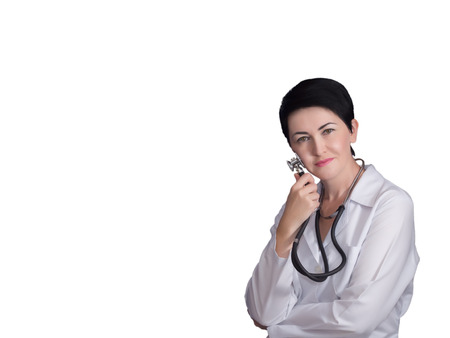 phisician: Doctor expert with stethoscope isolated Stock Photo