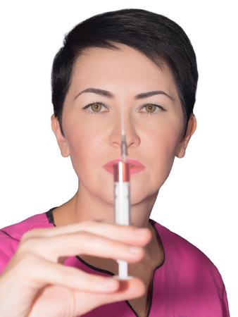 Doctor with syringe isolated photo