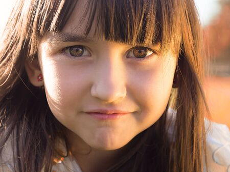 Portrait of emotional little girl Imagens