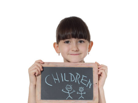 Young caucasian girl holding chalkboard signed children isolated on white photo