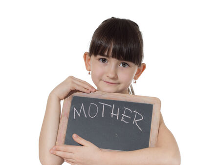 Young caucasian girl holding chalkboard signed mother isolated on white photo