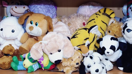 Stuffed soft animal toys waiting for a child to play at home Stock Photo - 44243580