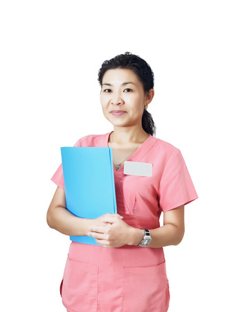Portrait of asian nurse isolated on white background Imagens