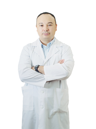 Portrait of senior doctor isolated on white background