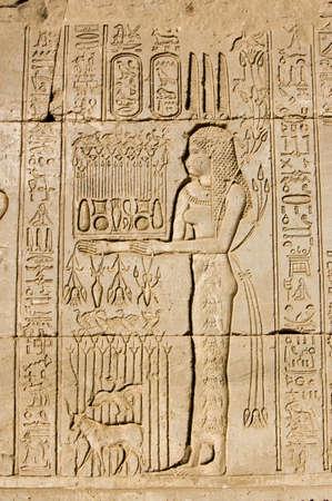 Altägyptischen Schnitzerei an der Wand des Dendera Tempel von einer Priesterin Opfergabe für die Göttin Maat Antike Schnitzereien, über 1000 Jahre alt Standard-Bild - 14103678