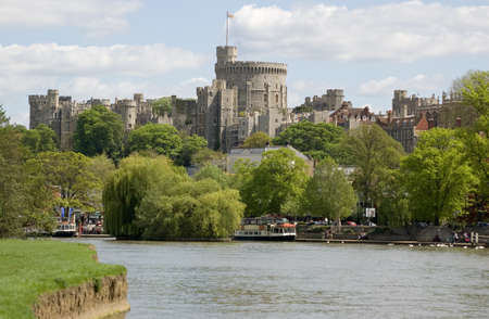 View of the town of Windsor from the banks of the River Thames in Berkshire