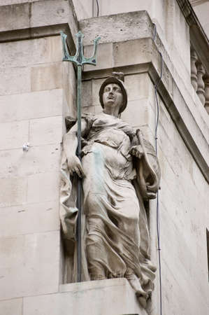 Stone sculpture of Britannia   Public monument at Finsbury Circus in the City of London  Sculpted by Sir Francis Derwent woods  1871 - 1926  for Britannic House in 1924  Public statue, on display for over 75 years  Stock Photo - 14242342