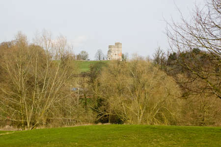 berkshire: View of the ruins of the medieval Donnington Castle, Newbury, Berkshire. Stock Photo