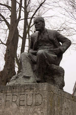 Public statue of the psychoanalyst Sigmund Freud   Viewed from a pavement in Hampstead, North London  Editorial
