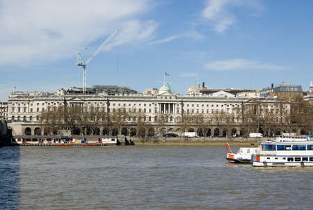 bank records: View from the South Bank of the River Thames across to Somerset House  Formerly housing public records and the Inland Revenue, now an art gallery   Central London