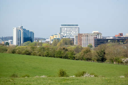 View from Basing Common of the town centre of Basingstoke, Hampshire  Stock Photo