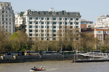 View of the historic Savoy Hotel in London   First opened in 1889, the hotel has had many famous guests including the artist Monet who painted many renowned views of Westminster from his room
