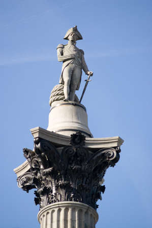 Statue of Admiral, Lord Nelson  1758-1805  on top of Nelson s Column in Trafalgar Square, Westminster, Central London  The naval hero was killed during the Battle of Trafalgar which his forces won