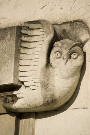 civic: An art deco style carving of an owl on an outer wall of the West Wing of Southampton s Civic Centre, Hampshire