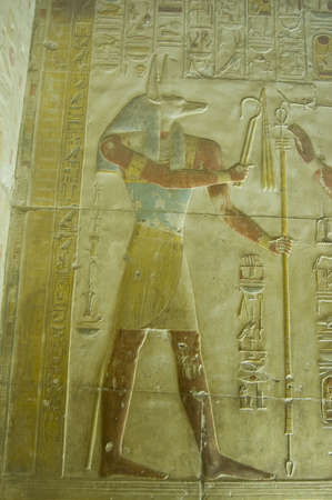 Ancient Egyptian bas relief of the jackal headed god Anubis   Abydos Temple near el Balyana, Egypt   Ancient carving, on public display over 1000 years