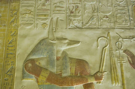 Ancient bas relief of Anubis, god of mummification holding the crook and flail of a Pharaoh   Temple of Osiris at Abydos, el Balyana, Egypt  Ancient carving, on public display for over 1000 years