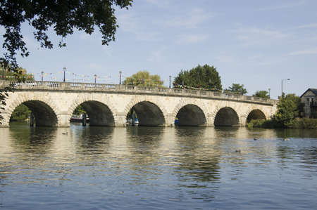 View of the bridge carrying the A4 road over the River Thames between Maidenhead in Berkshire to Taplow in Buckinghamshire   Built in 1777 and viewed from public footpath