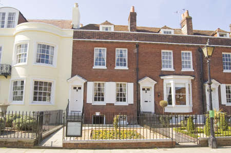 dickens: Historic house in Portsmouth, Hampshire where the novelist Charles Dickens was born  1812 - 1870   Now a museum dedicated to the great writer   Historic house viewed from pavement